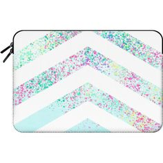 Macbook Sleeve - Modern pastel paint splatters teal ombre chevron... ($60) ❤ liked on Polyvore featuring accessories, tech accessories, bags and macbook sleeve