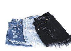 LEVI'S Shorts Denim Cutoff Tattered BLACK Distressed Highwaist High Cut Jean Shorts