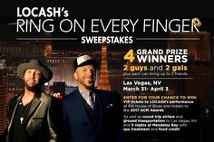 Enjoy the LOCASH's performance at the House of Blues Just by trying your good luck in Ring on Every Finger Sweepstakes.  #Sweepstakes #Daily #Tickets #Win #Big