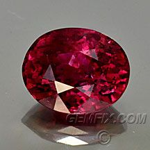 """Ruby Oval """"Portuguese"""" Style Cut - Weight: 1.79cts - Measurements: 8.0 x 6.4 x 4.3mm - Clarity: VS - Origin: Mozambique - Enhancements: Heat - Price: $ 3975.00"""