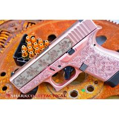 Shark Coast Tactical is proud to release the Glocks and Roses Glock 43 custom package. We take the world famous Glock 43 and add a rose theme twist. We begin by doing a Deep engraved scroll stipple in Gunc Big Girl Toys, Toys For Girls, Pistol For Women, Glock Sights, Pink Guns, Pink Hand Guns, Gun Aesthetic, Pretty Knives, Love Gun