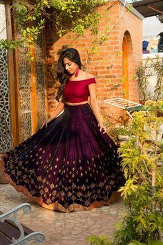 Poly Silk Purple Color With Embroidery Work Lehengas Half Saree Lehenga, Lehenga Gown, Saree Dress, Bridal Lehenga, Anarkali, Bollywood Lehenga, Lehenga Style, Red Lehenga, Indian Lehenga