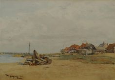 Thomas Bush Hardy - Cottages by an estuary at low. His Travel, Cottages, Art Gallery, Watercolor, Artist, Artwork, Painting, Pen And Wash, Cabins