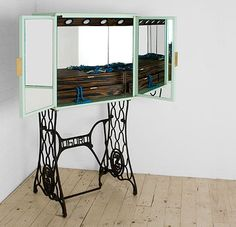 bing images of recycled sewing machine tables | ... home decor – dressing table features recycled sewing machine base