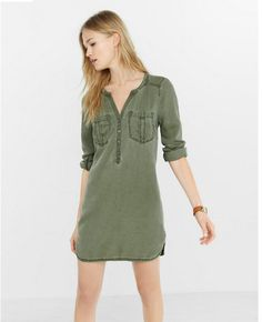 Express silky soft twill tunic dress