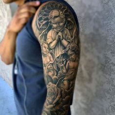 Gates Of Heaven Tattoo Sleeve 50 heaven tattoos for men - higher place ...