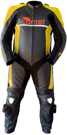 Comet Custom Edge CCR-1 One Piece Leather Motorcycle Racing Suit-with Yellow accents