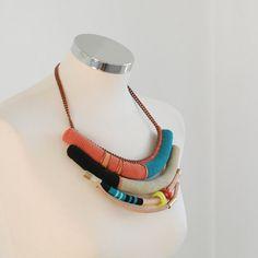 statement fiber and metal necklace von kjoo auf Etsy, $460.00