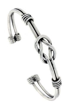 bracelets with ring Sterling Silver Wire Wrapped Love Knot Cuff Bangle Bracelet inch wide, - jew. Bracelet Fil, Wire Wrapped Bracelet, Bracelet Charms, Bracelets For Men, Bangle Bracelets, Bijoux Fil Aluminium, Diy Schmuck, Bijoux Diy, Copper Jewelry