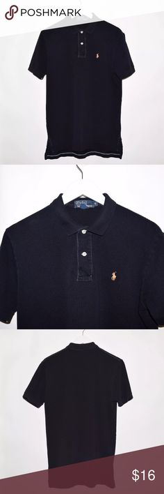 Polo Ralph Lauren Polo Shirt w/ Contrast Stitching Brand: Polo Ralph Lauren Item name:Cotton Polo Shirt w/ Contrast Stitching   Color: Black / Blue Stitching Condition: This is a pre-owned item. This item is in excellent condition with no stains, rips, holes, etc. Comes from a smoke free home. Size: Medium Measurements: Pit to Pit - 21 inches Shoulder to base - Front: 27 inches Back: 29 inches Polo by Ralph Lauren Shirts Polos