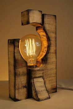 Handmade Rustic Wooden Table Lamp Edison Bulb Free Gift