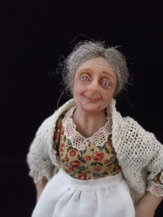 Old Washer Woman 12th scale miniature ooak by juliecampbelldolls