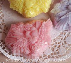 Домашнее оливковое подарочное мыло ручной работы Голубки розовые арт.003115