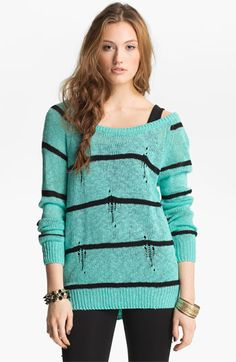 Love by Design Destroyed Stripe Sweater (Juniors) available at #Nordstrom