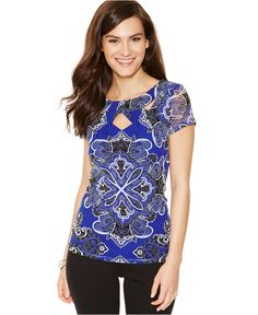 INC International Concepts Short-Sleeve Printed Cutout Top - Tops - Women - Macy's