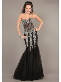 Black Mermaid Beading Boned Tulle 2013 Prom Dresses