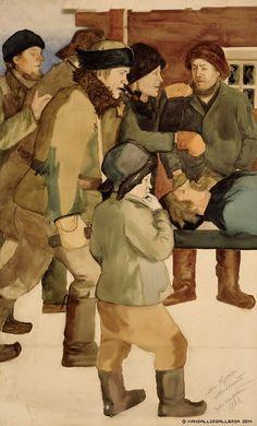 Juho Rissanen (1873-1950) Lapsuuden muisto (Miehet, poika ja isä) / Childhood Memory (Men, Boy and Father) 1902 - Finland