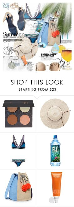 """True Blue.............................xx"" by mariloo ❤ liked on Polyvore featuring ZOEVA, kiini, TIKI, Sophie Anderson and Natura Bissé"