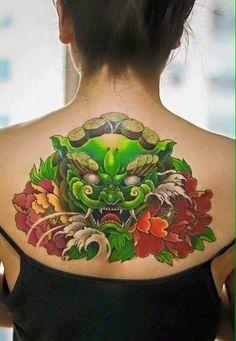 Japanese Tattoo Art, Japanese Tattoo Designs, Foo Dog Tattoo Design, Japanese Foo Dog, Oni Tattoo, Fu Dog, Asian Tattoos, Japan Tattoo, Cool Tats