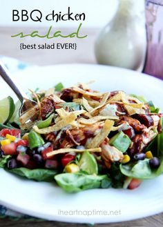 BBQ Chicken Salad best salad ever! Recipe    INGREDIENTS    4 chicken breasts  1/4 cup water  1 1/2 cup BBQ sauce I like Famous Daves  1 recipe black bean salsa www.iheartnaptime...  5 cups lettuce/ spinach  11/2 cup ranch dressing  1/2 cup cilantro  1 juiced lime  1 small tomatillo  tortilla strips