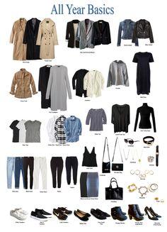 My 2018 All year Basic Wardrobe Basic Wardrobe Essentials, Staple Wardrobe Pieces, Work Wardrobe, Simple Wardrobe, Minimal Wardrobe, Wardrobe Staples, Professional Wardrobe, Fashion Essentials, Classic Wardrobe