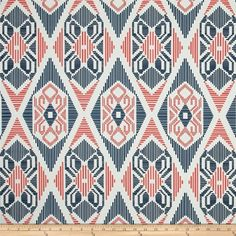 Premier Prints Munsee Twill Premier Navy/Coral from @fabricdotcom  Screen printed on cotton twill; this versatile…