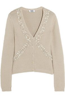 Moschino Cheap and Chic Shell-embellished cotton cardigan | THE OUTNET
