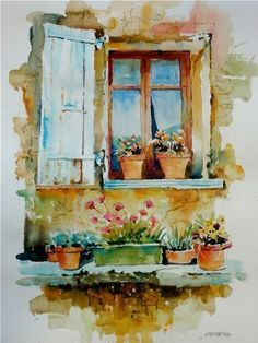Tuscany Paintings Of Windows Tuscan Villa Window by David Lobenberg Art Watercolor, Watercolor Landscape, Watercolor Flowers, Watercolor Illustration, Watercolor Architecture, Art Impressions, Window Art, Painting Inspiration, Painting & Drawing
