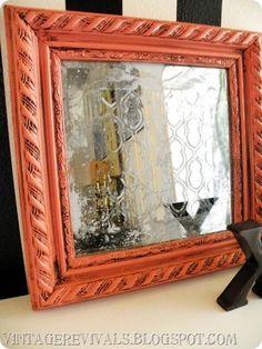 Amazing DIY Acid Mirror Tutorial --frame is spray painted Coral Isle by Krylon