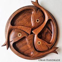 Omar_Handmade / Tácka drevená Tri Rybičky