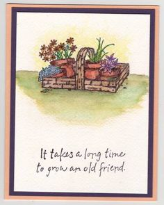 Long-time Friend Apricot & Eggplant by Becky Hay de Garcia - Cards and Paper Crafts at Splitcoaststampers Friend Cards, Cards For Friends, Long Time Friends, Flower Cards, Diy Cards, Gift Bags, Stamping, Card Ideas, Basket