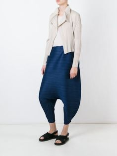 Pleats Please By Issey Miyake drop crotch cropped trousers