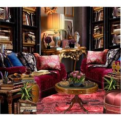 Maximalist Style Interiors by green-crafts on Polyvore featuring interior, interiors, interior design, home, home decor, interior decorating, REGENCY, Emissary, Hervé Gambs and Sterling