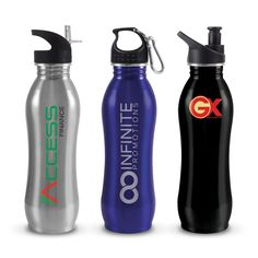Atlanta Eco Safe Drink Bottle - 700ml food grade staninless steel bottle with a choice of 3 lid styles all of which can be supplied with a optional carabineer.      Stainless steel does not require a plastic liner ensuring a chemical and odour free beverage.