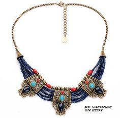 Egyptian Necklace  Bib Necklace  Vintage Style Necklace by Vaponet