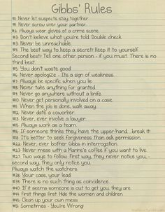 Gibbs' rules, learn it and memorise. Thank you.