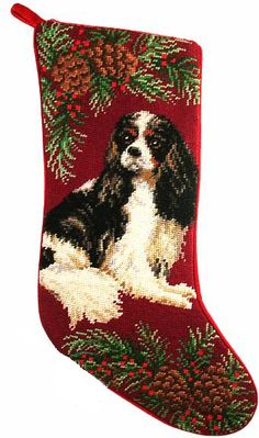 "Tri Color Cavalier King Charles Spaniel Dog Christmas Needlepoint Stocking - 11"" x 18"""