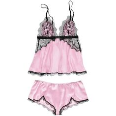 Victoria's Secret Lace & Satin Cami Set ($52) ❤ liked on Polyvore featuring intimates, lingerie, underwear, pajama's, victoria secret camisole, lacy lingerie, lace trim cami, sexy lace lingerie and satin cami