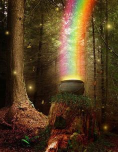 Magical & Fantasy, Art & Photography/Rainbow/Pot of Gold/Leprechauns/Ireland Fairy Land, Fairy Tales, Fantasy World, Fantasy Art, Wicca, Believe In Magic, Over The Rainbow, Land Art, Faeries