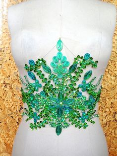 hand made crystals patches green sew on Rhinestones applique 35*22cm for top dress skirt belt