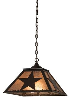 16 Inch Sq Texas Star Pendant. 16 Inch Sq Texas Star Pendant Theme:  RUSTIC MISSION LODGE AMERICANA MICA Product Family:  Texas Star Product Type:  CEILING FIXTURE Product Application:  PENDANT Color:  TIMELESS BRONZE/SILVER MICA Bulb Type: MED Bulb Quantity:  2 Bulb Wattage:  60 Product Dimensions:  15-44H x 22.5WPackage Dimensions:  NABoxed Weight:   lbsDim Weight:  NAOversized Shipping Reference:  NAIMPORTANT NOTE:  Every Meyda Tiffany item is a unique handcrafted work of...