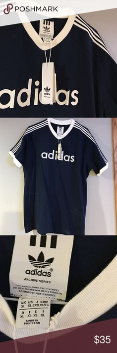 Adidas T-shirt Classic navy blue with white stripes. Adidas Shirts Tees - Short Sleeve