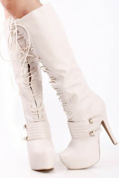 STONE FAUX LEATHER LACE UP DOUBLE BUCKLE VAMP KNEE HIGH HEEL BOOTS!!!