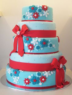 blue and red flower cake