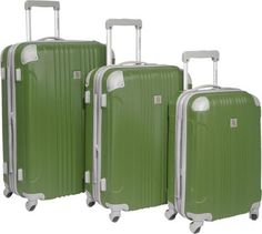 Beverly Hills Country Club Newport 3 Piece Hardside Spinner Luggage Set Green - via eBags.com!