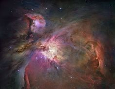 The first image of the Orion Nebula (also known as M42) was captured by the Hubble Space Telescope and is one of the most detailed images ever produced of this region. Hubble used all of its instruments over the course of 105 orbits to capture this stunning image. At full resolution, it contains nearly a billion pixels.