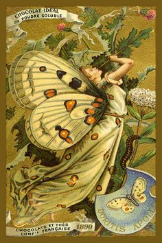 Butterfly Girl Fantasy - 1890 Trade Card. Quilt Block printed on cotton. Ready to sew.  Single 4x6 block $4.95. Set of 4 blocks with free wall hanging pattern $17.95