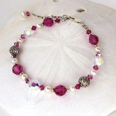 Hot Pink and Pearl Swarovski Bracelet Vivid by sandcastlejewels, $42.00