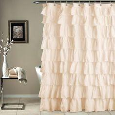Lush Decor Lace Ruffle Shower Curtain Gray