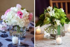 Pink, white, and green hydrangea and rose wedding centerpieces by the Enchanted Florist/Orchard Cove Photography